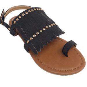 Black Gladiator Studded Fringe Sandal Sz 6 NWT